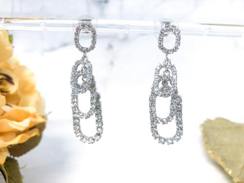 Fancy Oval Loop Earrings made with Swarovski Rhinestone Chain in Crystal