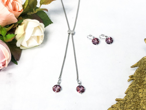 Antique Pink 11mm Slider Necklace and Earring Set