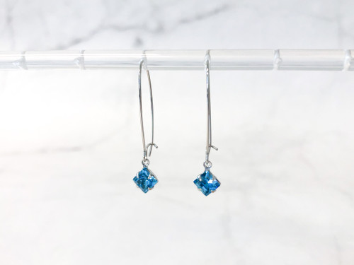 Aquamarine Earrings made with Swarovski Crystals