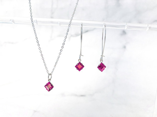 Rose Cushion Cut Jewelry Set made with Swarovski Crystals
