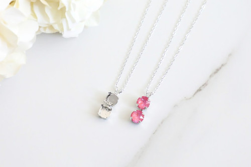 8.5mm | Two Setting Drop On Necklace Chain | One Piece
