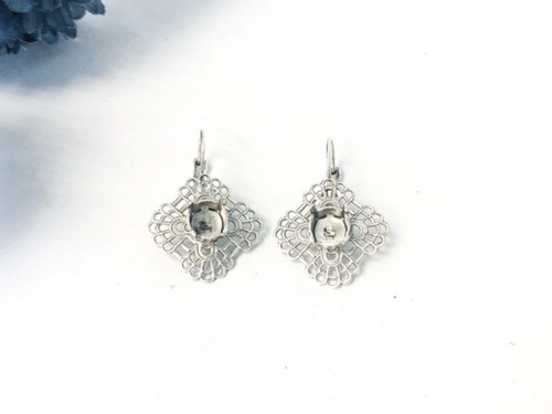 Limited Edition   Silver Ox   8.5mm Round Filigree Drop Earrings   One Pair
