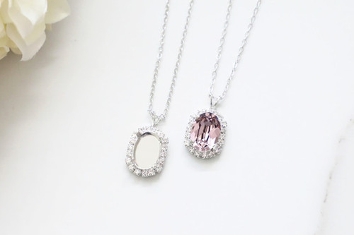 14mm x 10mm Oval | Crystal Halo Single Pendant On Necklace Chain | One Piece