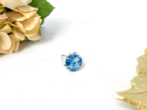 Aqua One of a Kind Wire Wrap Ring made with Swarovski Crystals