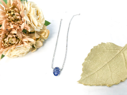 One of a Kind Wire Wrap Fancy Oval Necklace made with Swarovski Crystals