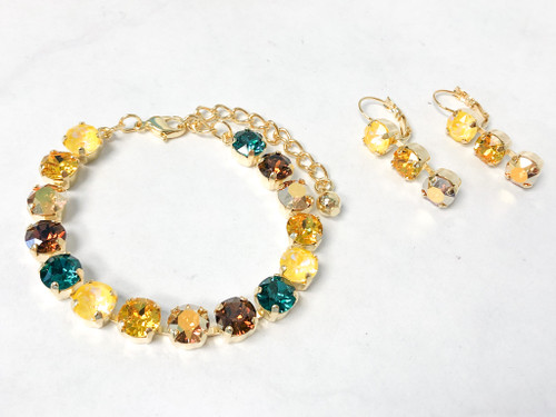 Sunflower Bracelet and Earring Set