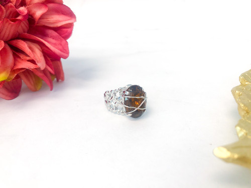 One of a Kind Wire Wrap Ring made with Swarovski Crystal Light Siam