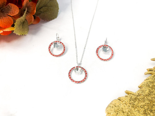 Circle of Hope Jewelry Set made with Padparadscha Swarovski Crystals