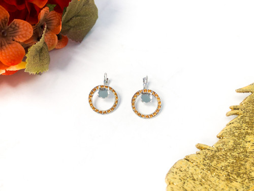 Circle of Hope Earrings made with Topaz Swarovski Crystals