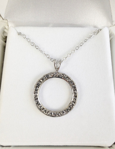 22mm Bezel  Pendant Necklace made with Swarovski Crystals | Rhodium or Gold
