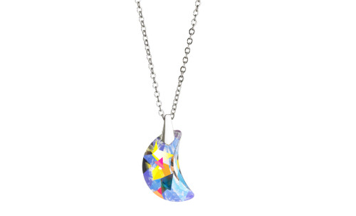 Moon Pendant Necklace made with Swarovski Crystal AB