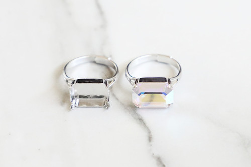 14mm x 10mm Octagon   Classic Band Adjustable Ring   Three Pieces