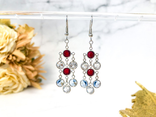 Patriotic Fancy Chandelier Earrings made with Swarovski Crystals