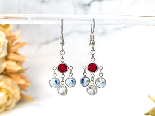 Patriotic Simple Chandelier Earrings made with Swarovski Crystals