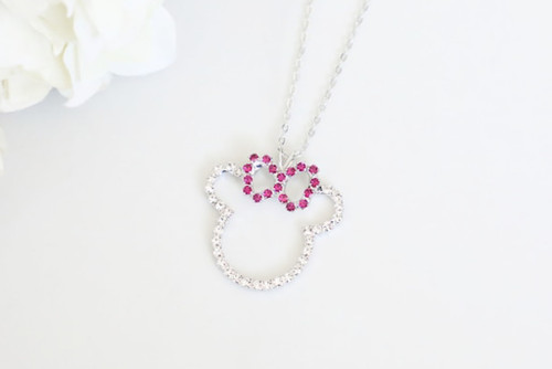 Girl Mouse Crystal Rhinestone Necklace | One Piece