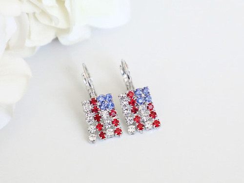 American Flag Crystal Rhinestone Earrings | One Pair
