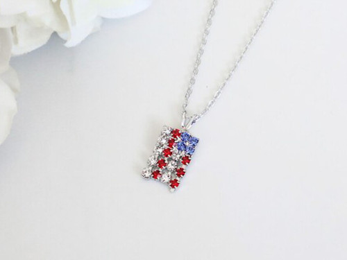 American Flag Crystal Rhinestone Necklace | One Piece