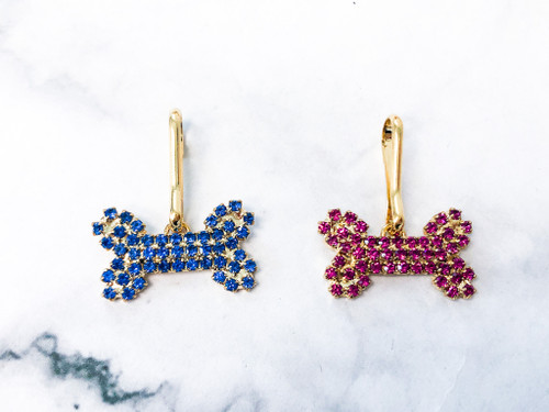 Rhinestone Bone Charm | Two Pieces | Pink and Blue