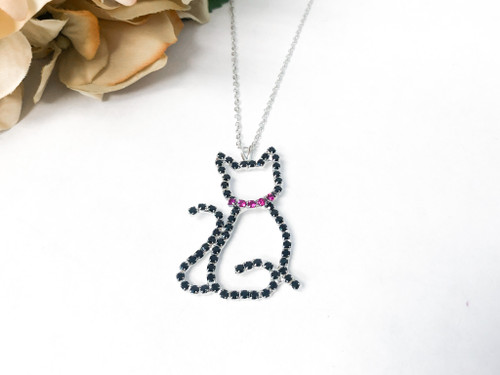 Jet Girl Rhinestone Cat Necklace made with Swarovski Crystals