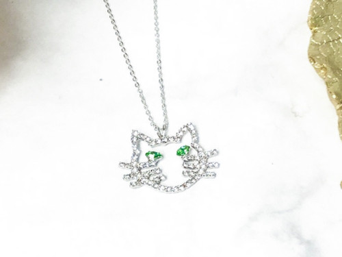 Rhinestone Cat Necklace made with Peridot Swarovski Crystals