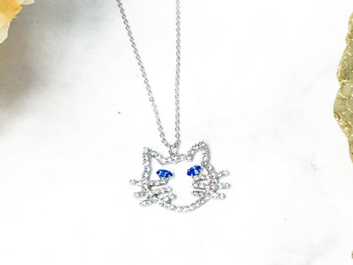 Rhinestone Cat Necklace made with Sapphire Swarovski Crystals