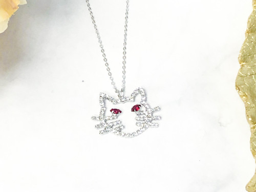 Rhinestone Cat Necklace made with Siam Swarovski Crystals