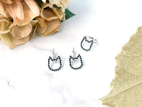 Cat Earring and Ring Set made with Jet Swarovski Crystals