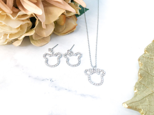 Mouse Necklace and Matching Earrings Set made with Swarovski Crystals