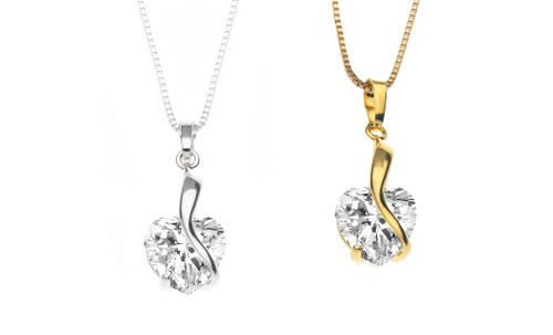 CZ Hearts Embrace Necklace