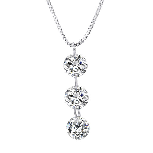 Triple CZ Drilled Necklace