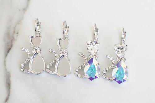 8mm Heart & 14mm x 10mm Pear | Cat Crystal Rhinestone Earrings | One Pair