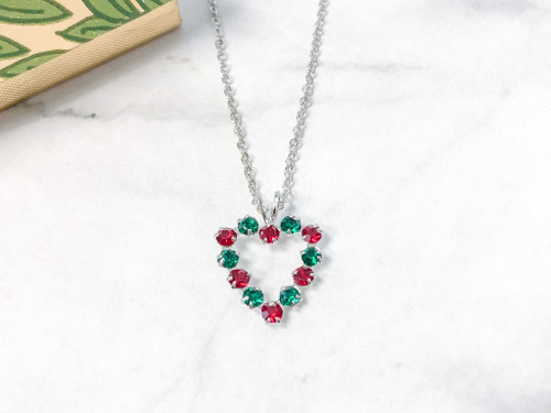 Festive Heart Necklace made with Swarovski Crystals