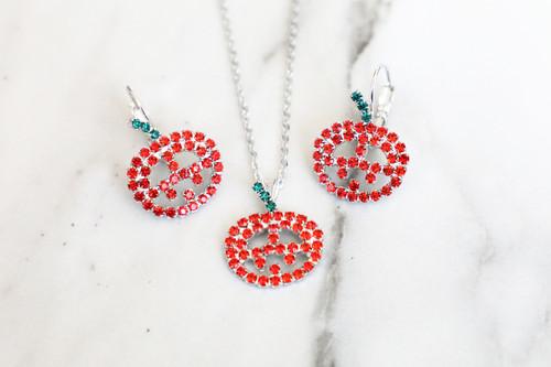 Jack-O-Lantern Crystal Rhinestone Necklace & Earrings | One Set