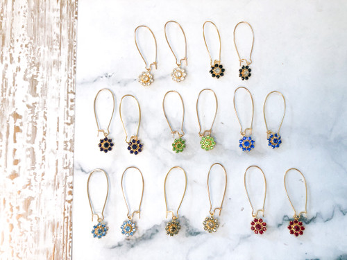 8 Pairs | Flower Earrings Lot made with Swarovski Crystals