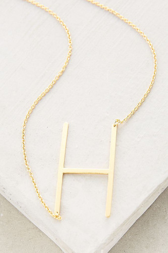 Sideways Initial Necklace   H Gold