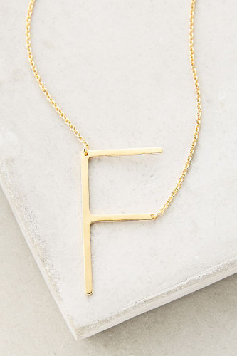 Sideways Initial Necklace | F Gold
