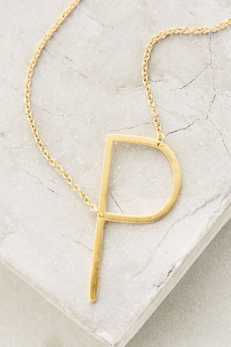 Sideways Initial Necklace | P Gold