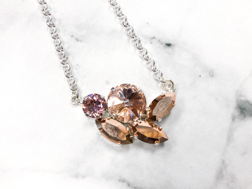 Rose and Cozy Cluster Necklace