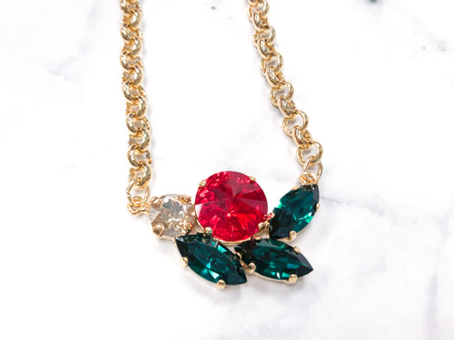Holly and Jolly Cluster Necklace