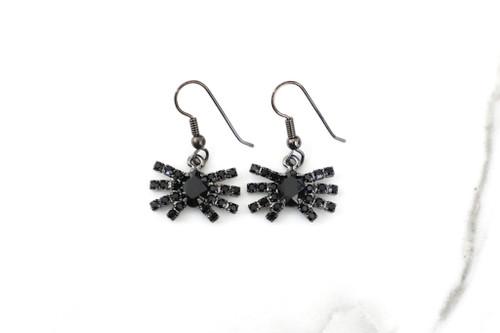 Short Crystal Spider Dangle Drop Earrings | One Pair