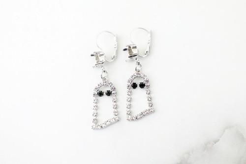8.5mm | Ghost Dangle Lever Back Earrings | One Pair