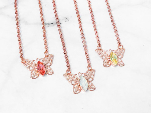 3 Pieces | Filigree Butterfly Rose Gold Necklaces | Finished