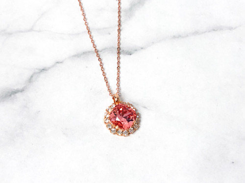 Rose Peach on Rose 12mm Cushion Cut Necklace