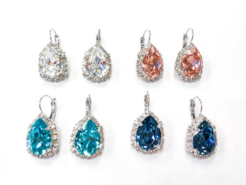4 Pairs | 18x13mm Pear Crystal Halo Earrings | Finished