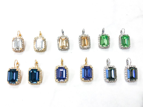 6 Pairs | 18x13mm Octagon Crystal Halo Earrings | Finished
