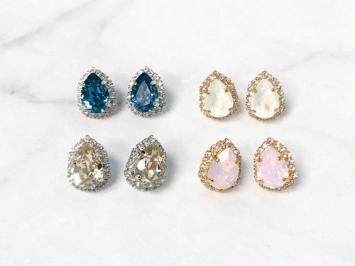 4 Pairs | 14x10 Pear Crystal Halo Earrings | Finished