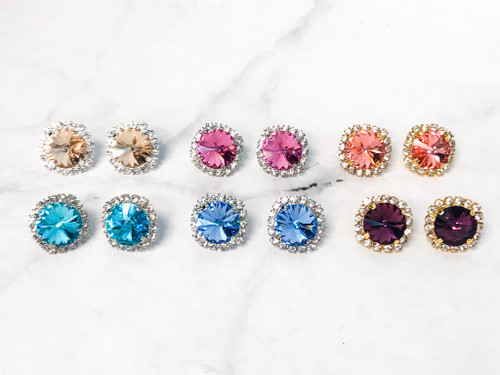 6 Pairs | 14mm Crystal Halo Stud Earrings | Finished