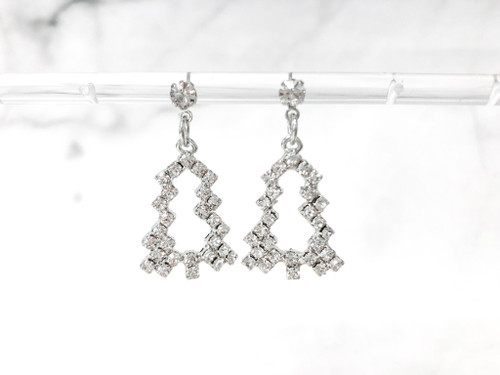 Limited Edition | Rhinestone Christmas Tree Earrings | One Pair