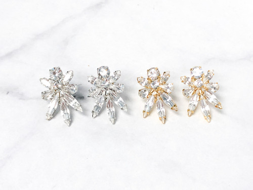 Crystal Statement Studs | Gold or Rhodium | One Pair