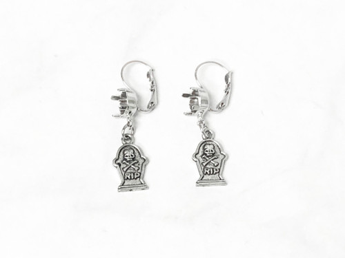 8.5mm | One Setting Drop & Tombstone Charm Earrings | One Pair